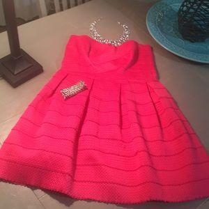 Pink strapless dress with zipper in back